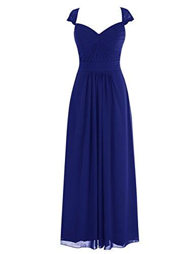 Dresstells Robe de cérémonie Robe de demoiselle d'honneur en mousseline longueur ras du sol Bleu Saphir