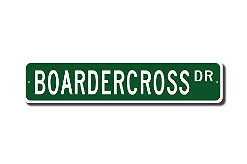 qidushop Boardercross Geschenk Boardercross Schild Snowboard Motocross Snowboard Race Street Schild Metall Wandkunst Weihnachten lustige Geschenke für Frauen