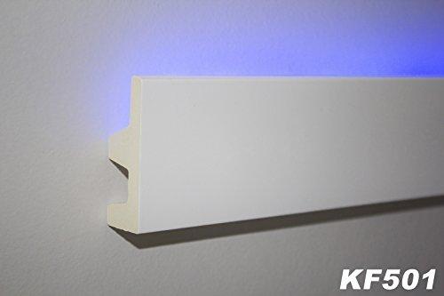 2 Meter PU Stuckprofil Stuckleiste Lichtleiste LED Stuck 62x25mm, KF501
