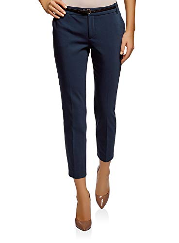 oodji Collection Damen 7/8-Hose mit Gürtel, Blau, DE 40 / EU 42 / L