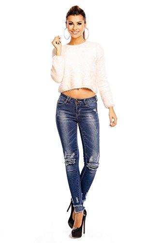 Blue Rags Stretch Röhrenjeans Skinny Jeans mit Löcher Blue-Denim