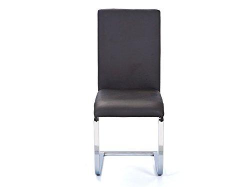 Inter Link 30200850 Küchenstuhl Esszimmerstuhl Esszimmer Freischwinger Stuhl schwarz chrom Küche NEU
