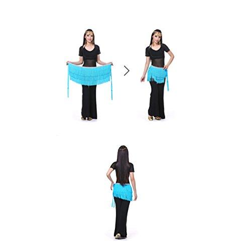 YouPue Le donne sciarpa di ballo di pancia con gonna ballo nappa Sciarpa per la danza del ventre tribale Blue Lake