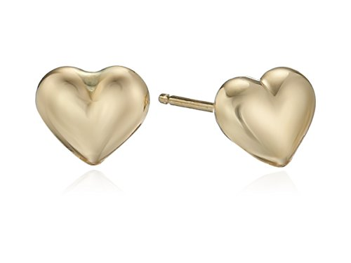 Amazon Duragold 14k Yellow Gold Tiny Heart Button Earrings