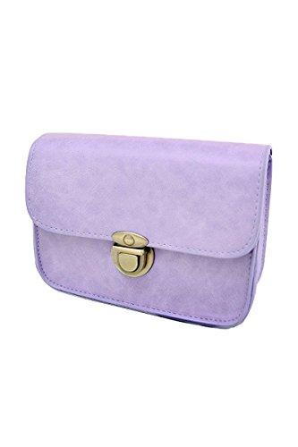 TOOGOO(R) Sacs de messenger A la nouvelle mode pour femmes sac A bandouliere de chaine Mini sac de crossbaby en PU cuir de couleur de bonbon - violet
