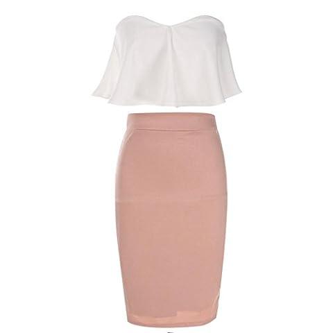 Robe Femme, Koly Mode Femme 2016 Sexy Bra Top Bretelles Dos Nu Ruffle Encolure Bateau Sans Manches Robe Robe Moulante Mi Longue Jupe Crayon Taille Haute (XL-Jupe taille:29,1