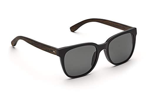 TAKE A SHOT - Eckige Holz-Sonnenbrille Herren, Holz-Bügel, Kunststoff-Rahmen, UV400 Schutz, rückentspiegelte Gläser, Mack