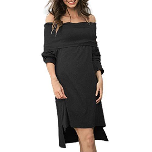 Damen Kleider Dasongff Off Shoulder Pulloverkleider Langarm Festkleider Tunikakleid Elegante Strickkleid Pullikleid Frauen Spitzenkleid SkaterkleidLangarm