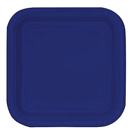 Unique Party - 30951 - Paquet de 14 Assiettes en Carton - 22.2 cm - Bleu Marine