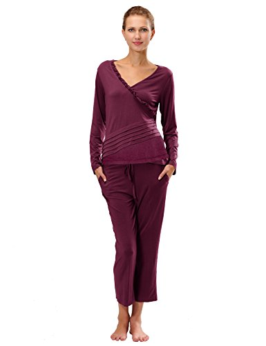 RAIKOU Damen Jersey Fitness Yoga Badeanzug Hausanzug mit Rüschen Raffungen Rot