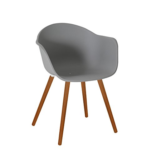 greemotion Gartenstuhl Derby aus Kunststoff in Grau-Stuhl mit Holzbeinen für Garten, Balkon & Terrasse-Gartensessel mit Armlehne-Lounge Sessel modern, 5,2 x 6 x 8 cm