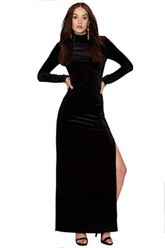 Aashish Fabrics Women\'s Black Long Velvet Dress (Black-Long-Velevt-Dress-M-P, Medium)