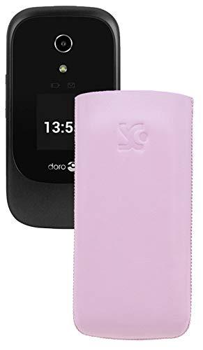 Suncase Original Tasche kompatibel mit Doro 7060 Leder Etui Handytasche Ledertasche Schutzhülle Case Hülle - Lasche mit Rückzugfunktion* In Rosa