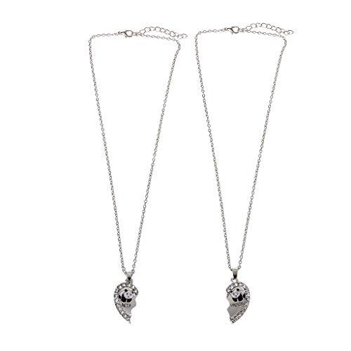 Coludor 2 parti cuore spezzato panda animale pendente in cristallo collane gioielli amicizia