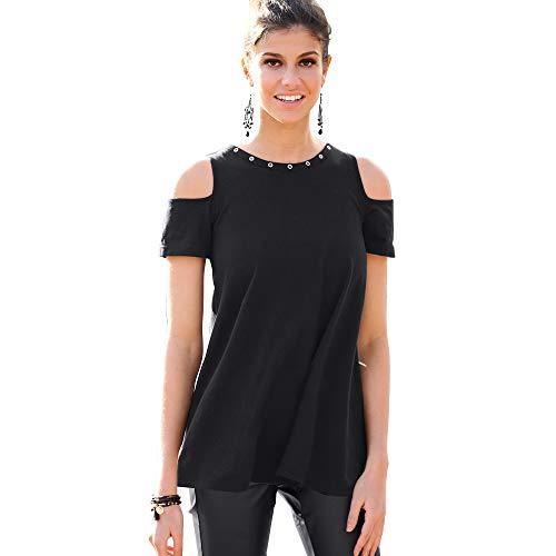 7fef7c36685e Tee-Shirt évasé Manches Courtes Ouvertes Oeillets métalliques Femme -  017932