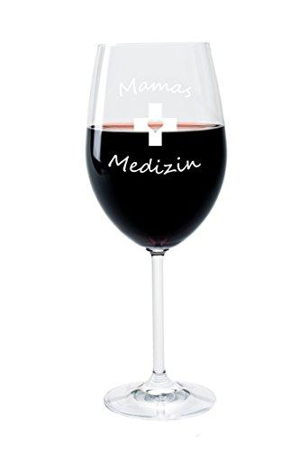 FORYOU24 Leonardo Weinglas mit Gravur Motiv Mamas Medizin Wein-Glas graviert Muttertag Geschenkidee