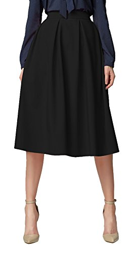 Urban GoCo Mujeres Vintage Falda Midi Plisada A-Line con Bolsillos Faldas Larga Negro XL