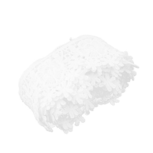 sourcingmap Polyester Vintage Stil Rock Handgefertigte Spitze Trimm Weiß 2,4 Zoll Breite