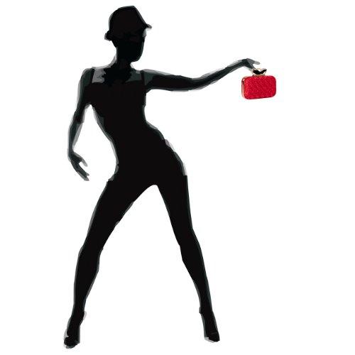 Caspar Pochette Da Donna Anello Pochette / Borsa Da Sera Con Decorazioni In Tessuto Crochet E Pietre Strass - Molti Colori Rosso