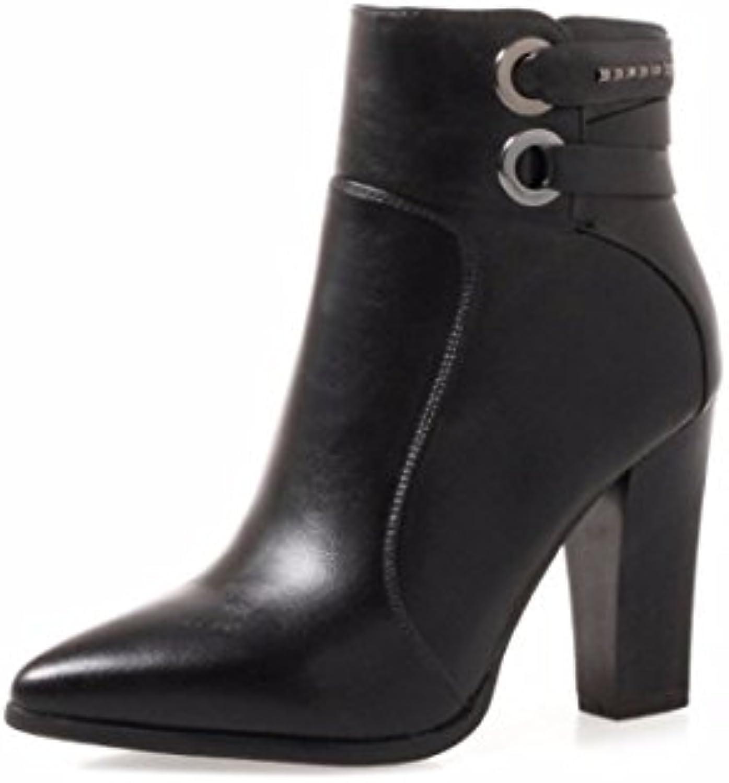 Otoño invierno botas, Pu señaló los talones, talón grueso zipper dama Ma Dingxue,negro,37