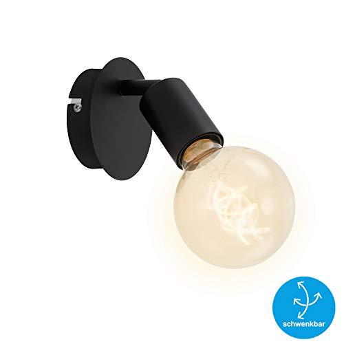 Briloner Leuchten Spotleuchte, Wandspot 1-flammig, Retro/Vintage, Spotkopf dreh- und schwenkbar, E27, max. 60W, Metall, Schwarz, 60 W