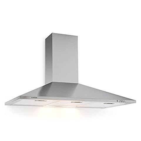 Klarstein TR90WS Mounted Cooker Hood • Recirculating Hood • 90 cm • 340 m³/h Extraction Capacity • 3 Power Levels • Exhaust Air Mode • Air Cleaner • Stainless Steel Body and Flue Duct • Suitable for Wall Mounting • 2 x 40W Bulbs • Silver