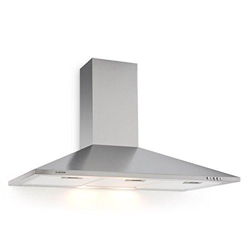 Klarstein TR90WS Filter 3 cappa aspirante da cucina (90cm, 340m³/h, 3 filtri antigrasso, funzione riciclo, rumore e consumo energetico minimi, 3 livelli di potenza, 2 lampade da 20 Watt, acciao) - grigio