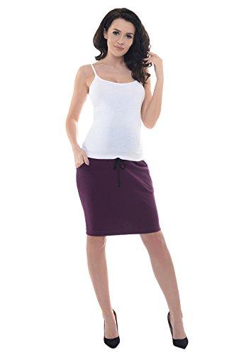 Purpless Maternity Maternidad Premama Embarazadas Falda Banda Elástica Embarazo Oficina Ropa 1500 (44, Plum)