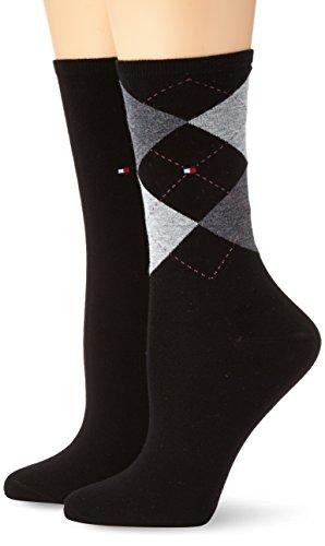 Tommy Hilfiger Damen Socken TH CHECK SOCK 2P, 2er Pack, Gr. 35/38, Schwarz (black 200)