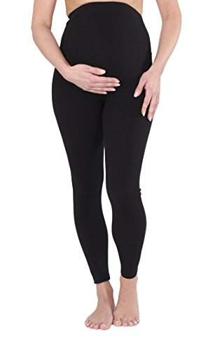 Umstandsleggings-Schwangerschaftsleggings in Schwarz aus Baumwolle, gefüttert, besonders wärmend