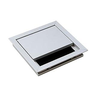 Gedotec Kabeldurchführung silber Schreibtisch ECO eckig mit Bürstendichtung | Kabeldurchlass Aluminium silber eloxiert | Kabeldose 100 x 100 mm zum Eindrücken | Möbelbeschläge | 1 Stück