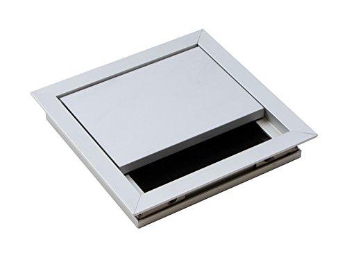 Gedotec Kabeldurchführung silber Schreibtisch ECO eckig mit Bürstendichtung | Kabeldurchlass...