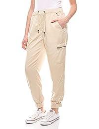 Pantalon Femmes-palazzohose Beige kurzgröße stoffhose sommerhose Rick Cardona SALE