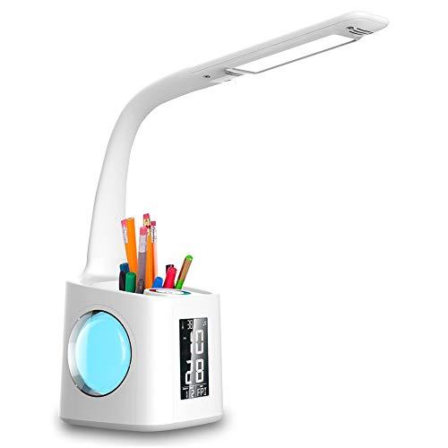 Wanjiaone 10W Dimmbar Led Schreibtischlampe, Augenschutz Stifthalter Tischleuchte mit Touchfeld für Nachtlicht und 3 Helligkeitsstufen, Schwanenhals Schreibtischlampe mit LCD Display für Studie, Weiß - Mit Temperatur Schreibtisch-uhr