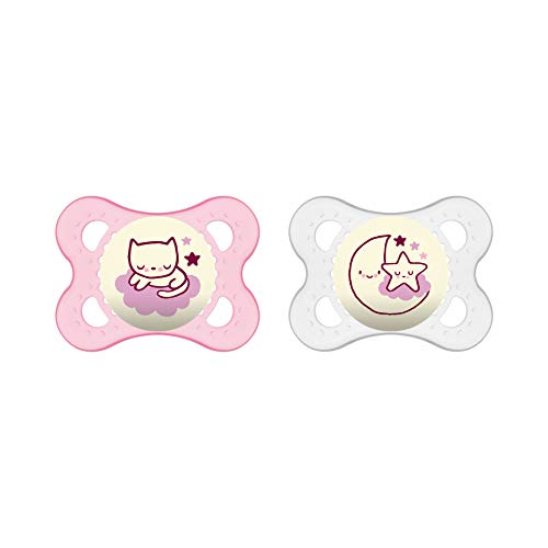 MAM 523322 - Ciuccio 'Night' in silicone per bambine da 0 a 6 mesi, senza BPA, confezione doppia, colore: Rossa