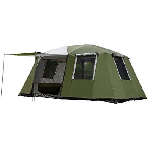chicht wasserdichte Sonnencreme 6-10 Personen Zwei Zimmer und EIN Wohnzimmer Camping Picknick Familie Zelt Rucksack Zelt (Color : Green) ()