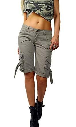 Damen Hüfthose Bermuda Shorts Army Military Cargo Armee Bundeswehr Style Tarnfarbe Khaki grün Baumwolle