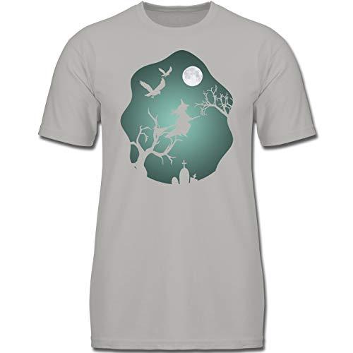 Halloween Kind - Hexe Mond Grusel Grün - 104 (3-4 Jahre) - Hellgrau - F130K - Jungen Kinder T-Shirt (Krähe Kostüm Kinder)