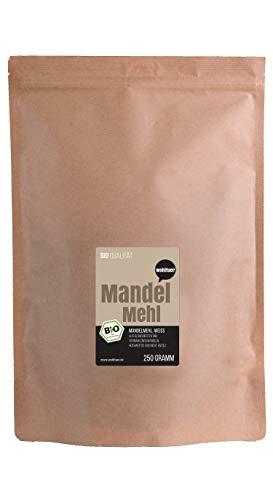 Wohltuer Bio Mandelmehl - Glutenfrei, Cholesterinfrei, Nährstoffreich - Vegetarisch und Vegan - vielseitiges Lebensmittel in geprüfter Bio-Qualität (250g) -
