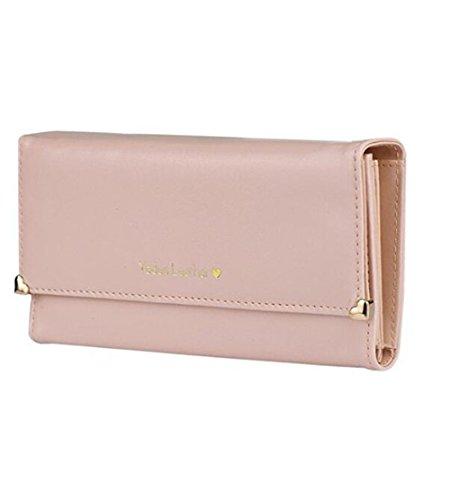 YARBAR Portafoglio in pelle PU borsa lunga lettera semplice raccoglitore della frizione delle donne (Rosa)