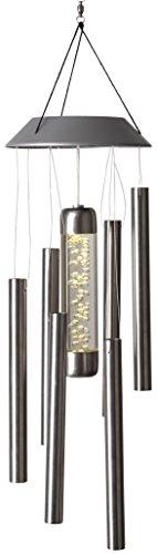 LED-Solar-Windspiel, Edelstahl 1 warm white LED, ca. 35 cm x 13 cm mit Solarpanel, incl. Akku, Outdoor
