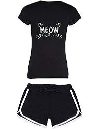 Avaatar Cotton Meon Printed Sleepwear Shorts and T Shirt Set