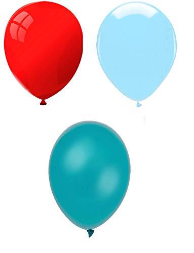 INERRA Globos – Grande 10 Pulgadas Pack de 75 Mixtos (25 x Rojo, 25 x Azul Cielo y 25 x Turquesa)