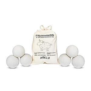 Trocknerbälle Wäschetrockner Trockner, 6 XXL Bälle 100% erlesene neuseeländische Schafwolle, natürlicher Weichspüler, perfekt für Daunenwäsche Fleece, Trocknerkugeln, pflegend, umweltschonend
