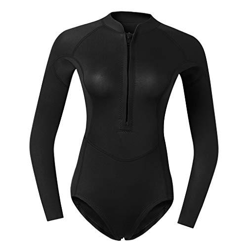 B Baosity Damen Langarm 2mm Neoprenanzug Sports Badeanzug Einteiler Reißverschluss Bademode Schwimmanzug Für Freizeit Und Sport - Schwarz XS