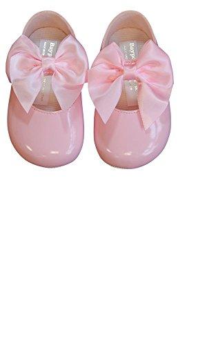 Luxus British Made Baby Mädchen niedlich dekorativen spanischen Stil großen Bogen Taufe Parteien besondere Anlässe Schuhe (EU 19 (6-12 Monate), Rosa)