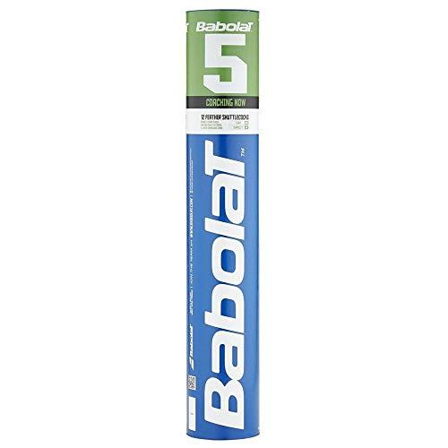 BABOLAT 5 FEATHER SHUTTLECOCKS 12 Federbälle weiss / grau, Farbe:weiß/grau