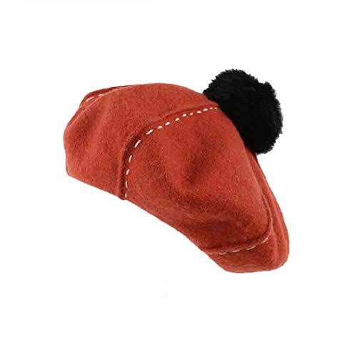 Sunny Womens Cute French Baskenmütze - Einfarbig Künstler Beanie Cap Pom Poms Hut, Orange/Dunkelgrün (Farbe : Orange) Pom-pom Beret Hat