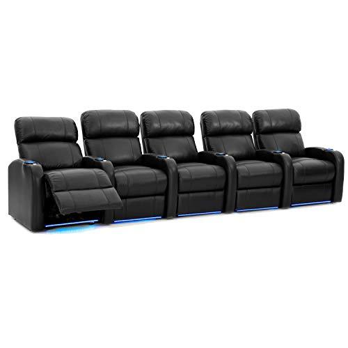 Octane Seat Diesel XS950 Theaterstühle, Premium-Leder, Power Recline, Memory-Schaum, Zubehör Dock, gerade Reihe, 5 Sitze