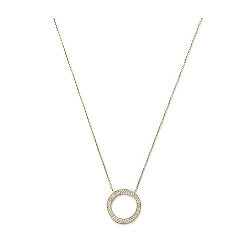 Michael Kors Collection Circle Pendant Necklace Necklace Gold/Clear Pav : One Size